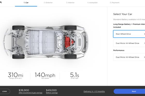 Model 3 in USA und Kanada jetzt konfigurierbar