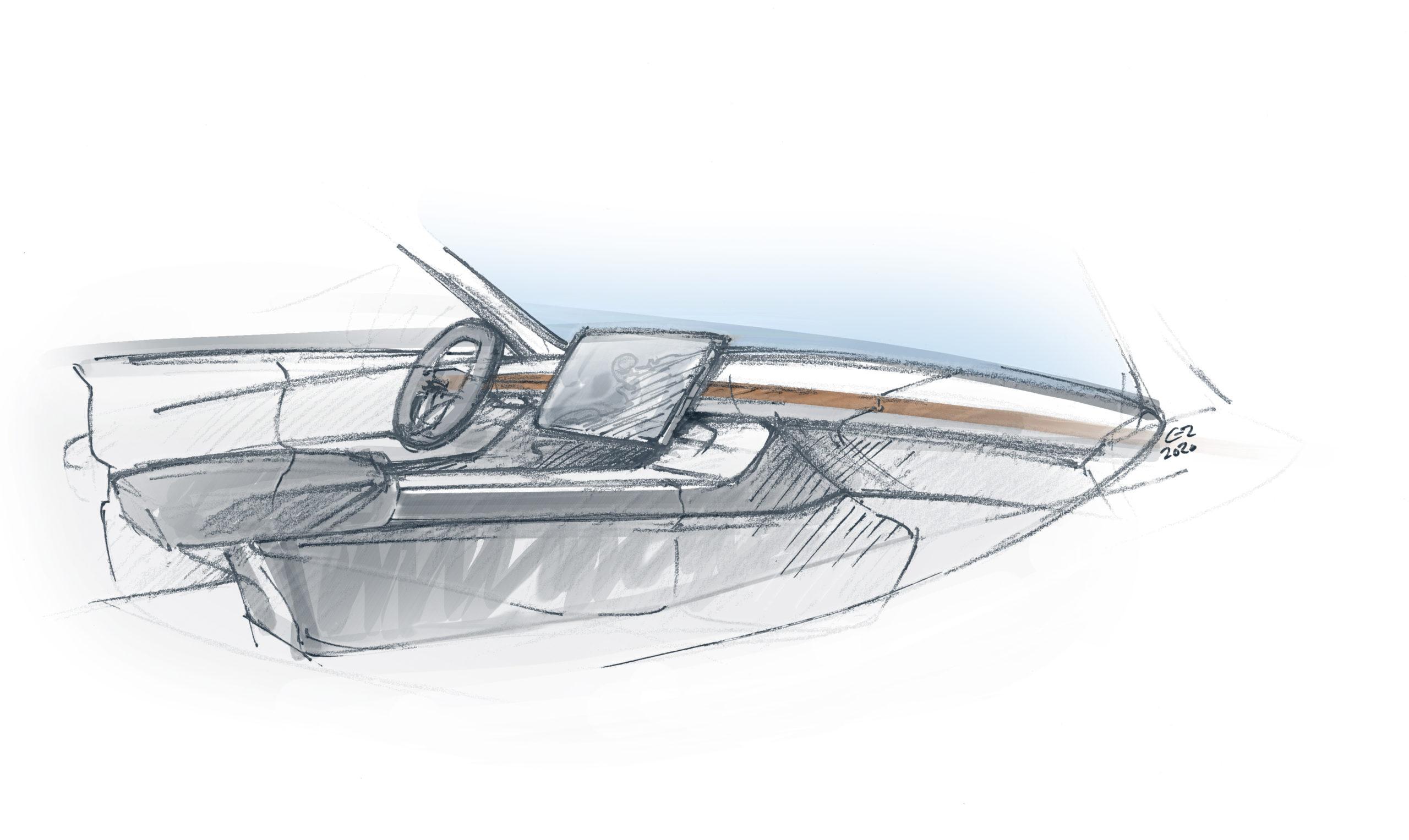 Skizze Tesla Model 3 Interior