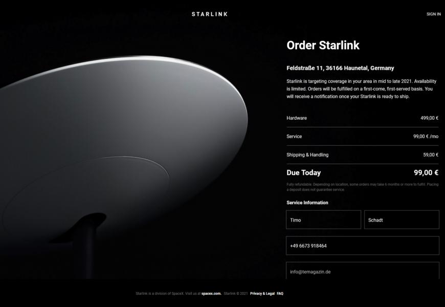 Starlink kann in Deutschland und Österreich bestellt werden