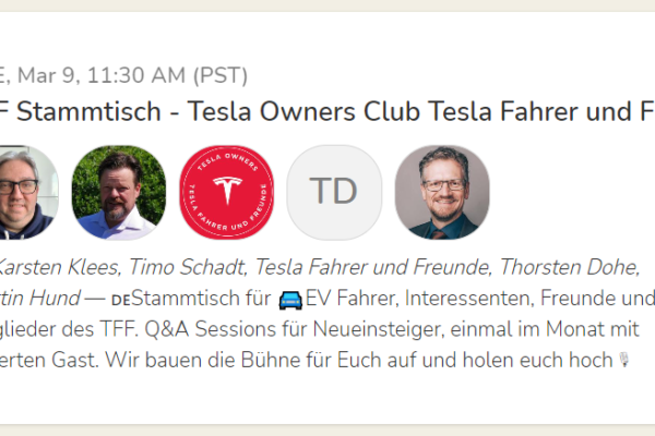 Tesla-Stammtisch bei Clubhouse