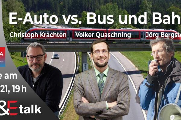 T&Etalk am 7.11.: E-Auto vs. Bus & Bahn